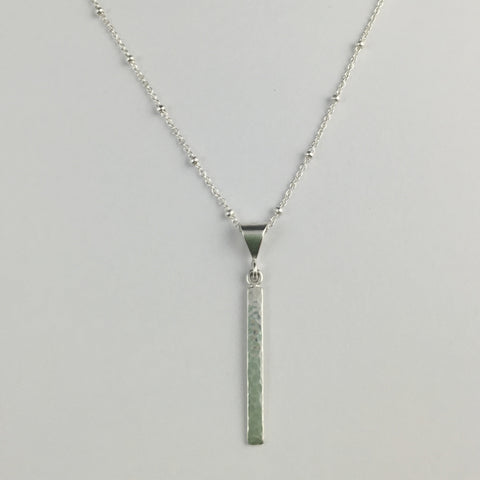 Silver Hammered Bar Pendant