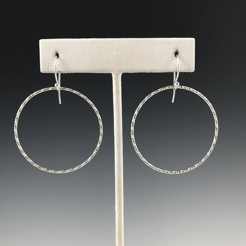 Silver Textured Circle Earrings- Large