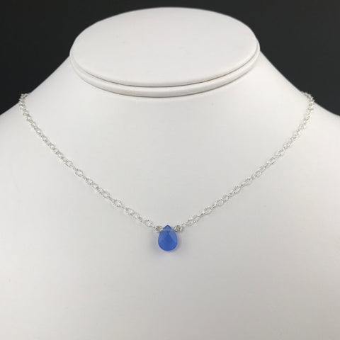 Side to Side Blue Agate Necklace