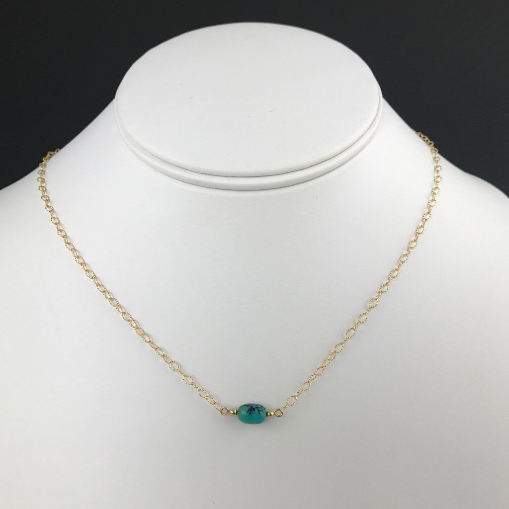 Side to Side Gold Turquoise Necklace