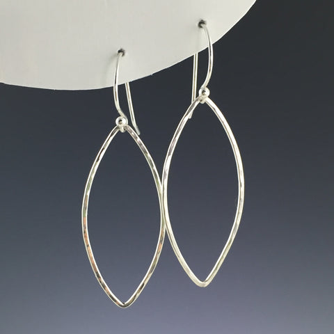 Silver Marquise Shape Earrings - Large