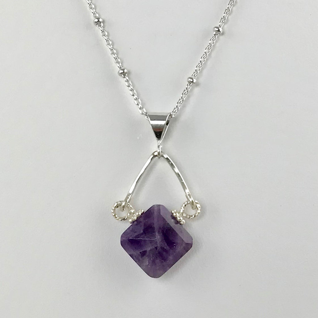 Amethyst Diamond Shape Pendant