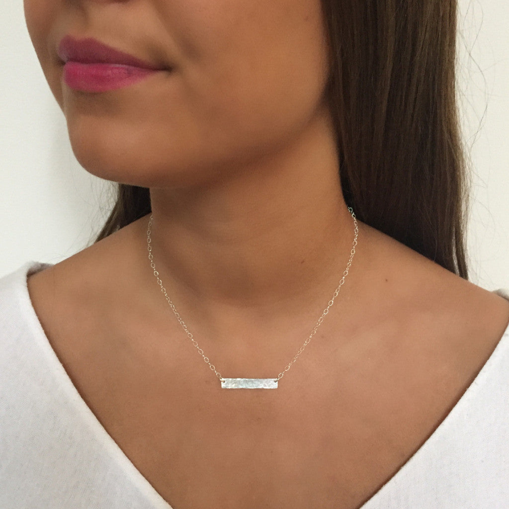 Side to Side Silver Hammered Bar Necklace