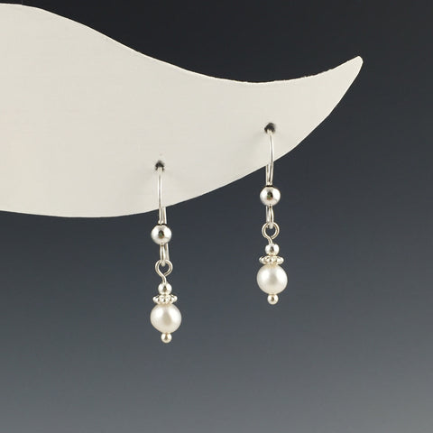 Small Silver Freshwater Pearl Earrings