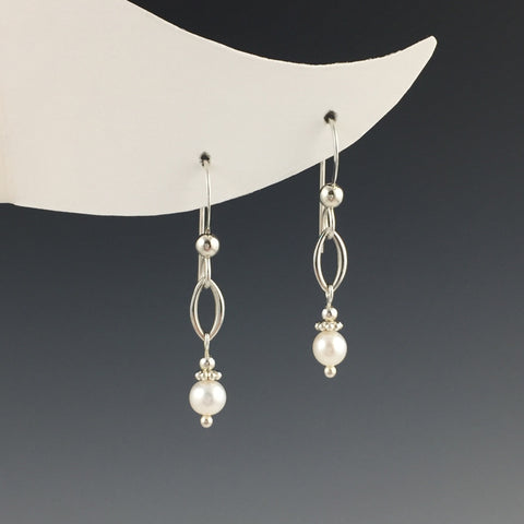 Small Pearl with Oval Shape Earrings