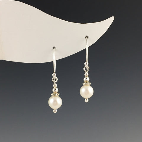 Silver and White Freshwater Pearl Earrings