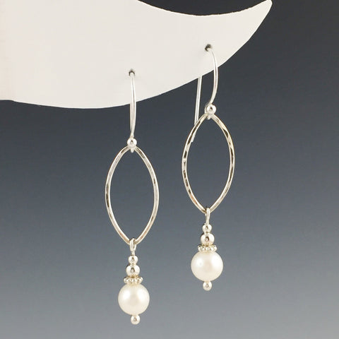 Freshwater Pearl and Silver Oval Earrings