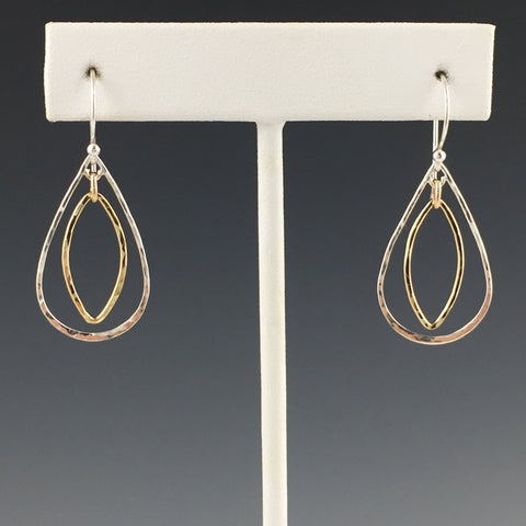 Gold/Silver Combo Teardrop Earrings
