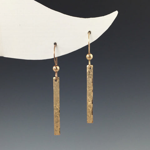 14k Gold-Filled Hammered Bar Earrings- Short