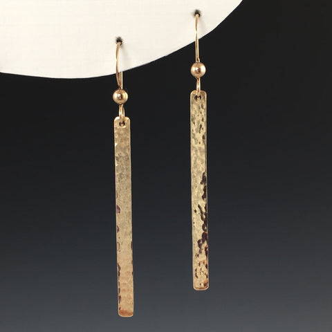 Gold Hammered Bar Earrings - Long