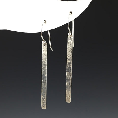 Silver Hammered Bar Earrings- Long