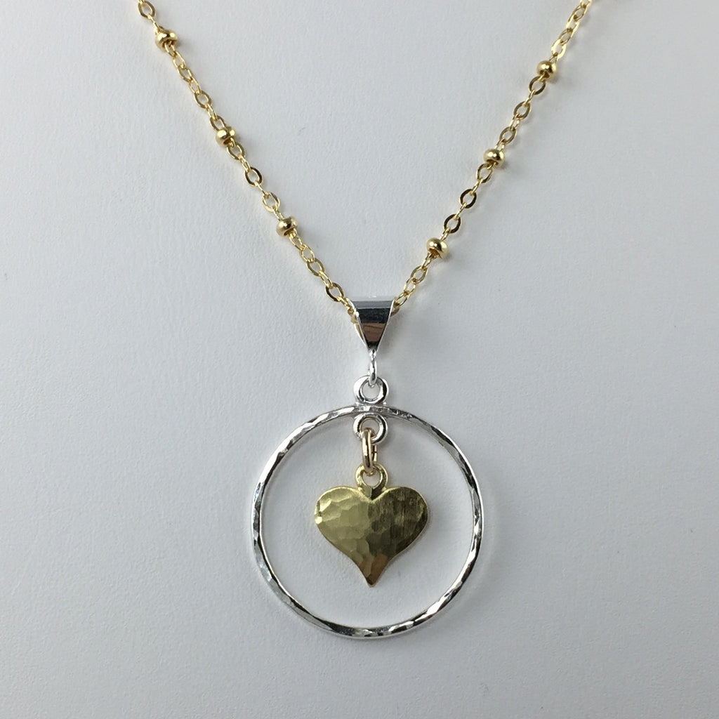 Small Circle and Heart Pendant