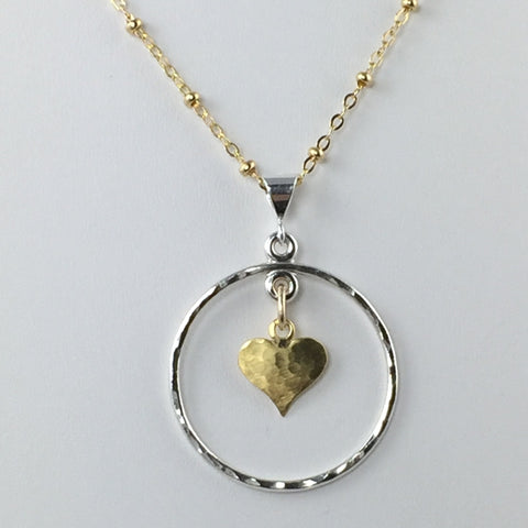 Large Circle and Heart Pendant