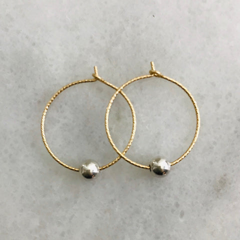 Gold Hoop Silver Ball Earrings