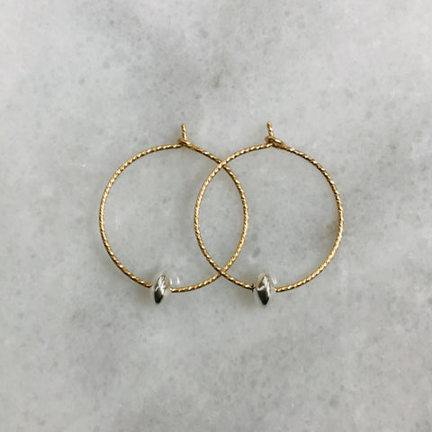 Gold Hoop Silver Roundel Earrings
