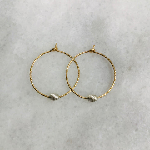 Gold Hoop Silver Oval Earrings