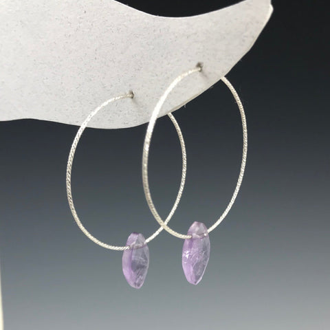 Silver Hoop Amethyst Oval Drop Earrings - M
