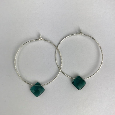 The Hoop- L Silver Teal Drop