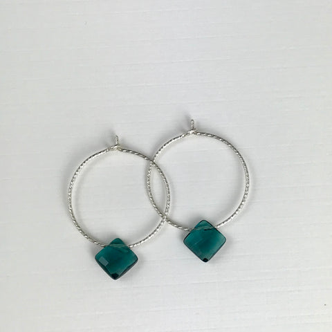 Silver Hoop Teal Drop Earrings - M