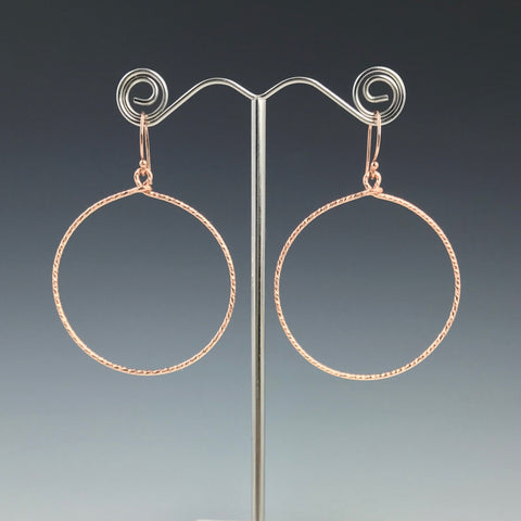 Rose Gold Textured Circle Earrings- Large