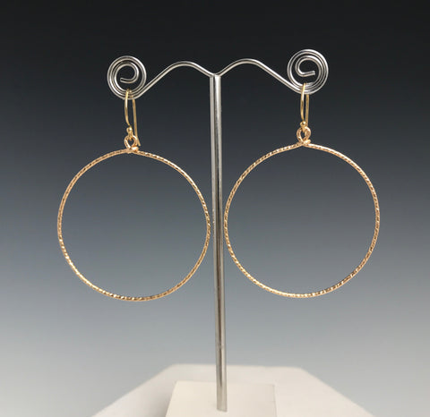 Gold Textured Circle Earrings- XL