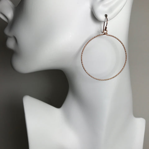 Rose Gold Textured Circle Earrings- XL