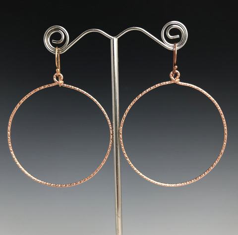 Rose Gold Textured Circle Earrings - XL