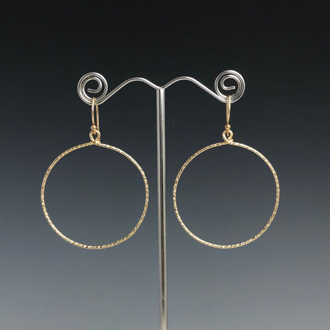Gold Textured Circle Earrings- L