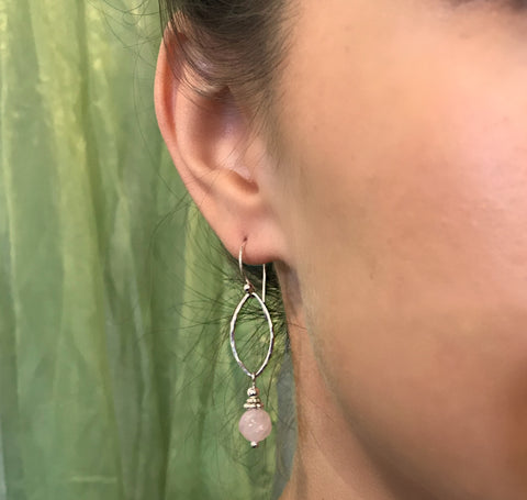 Rose Quartz Swirl Long Earrings