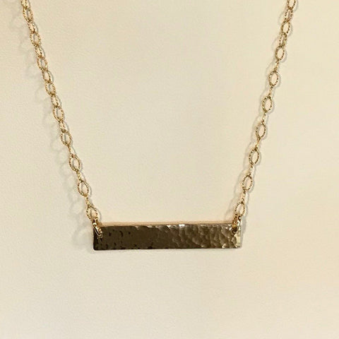 Side to Side Gold Hammered Bar Necklace