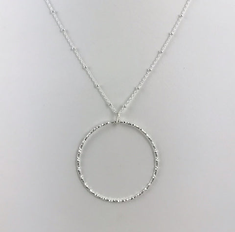 Silver Textured Circle Pendant - L