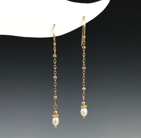 Gold Beaded Chain Pearl Earrings
