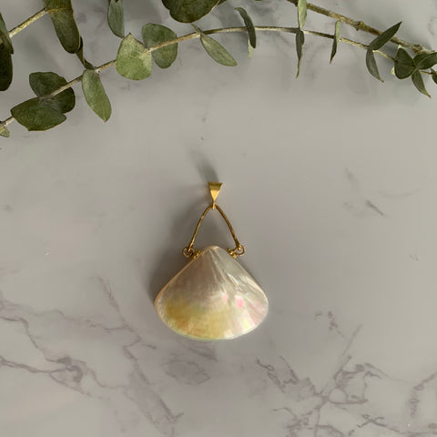 Gold Mother of Pearl Fan Pendant