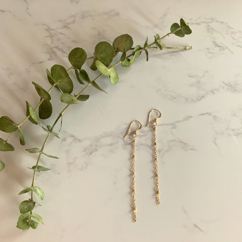 Gold Beaded Chain Earrings