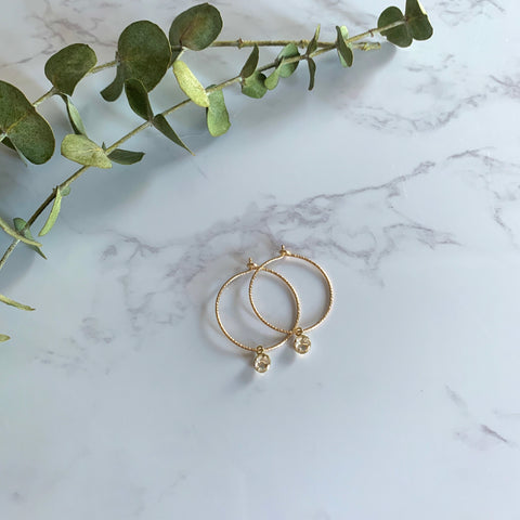 Gold Birthstone Hoops