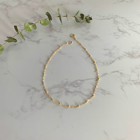 Gold Beaded Chain Anklet