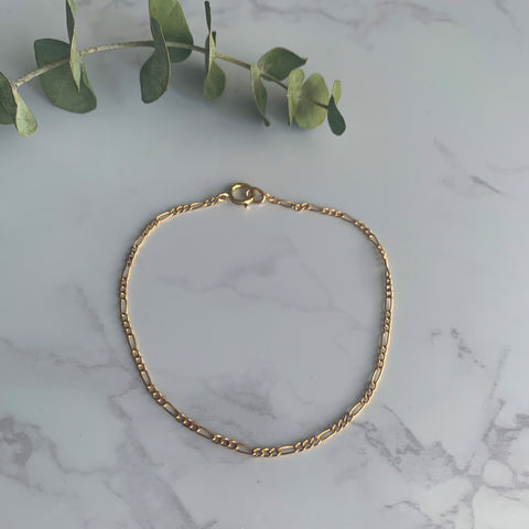 Gold Thin Figaro Bracelet