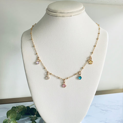 Custom Gold Birthstone Necklace