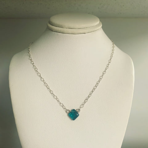 Side to Side Teal Drop Necklace