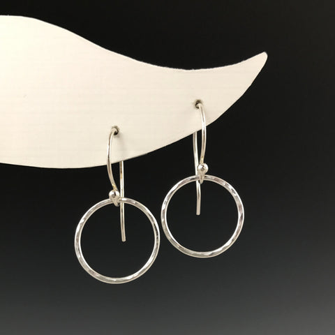 Silver Hammered Circle Earrings - S