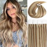 Ombre Golden Brown Highlights Blonde Tape-in PU Hair Extensions P#10-613/P#10-16-613