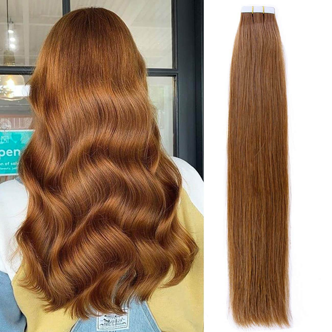Pre-Tape Authentic Invisibl Remy Seamless Tape in Human Hair Extensions #30 Auburn Blonde