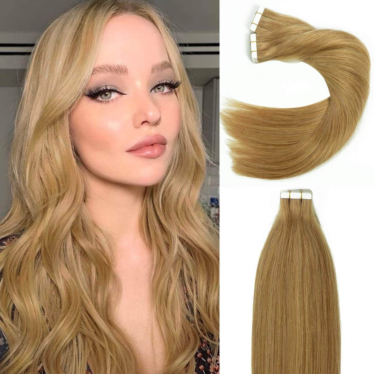 Remy Skin Weft Seamless Tape in Human Virgin Hair Extensions Strawberry Blonde #27