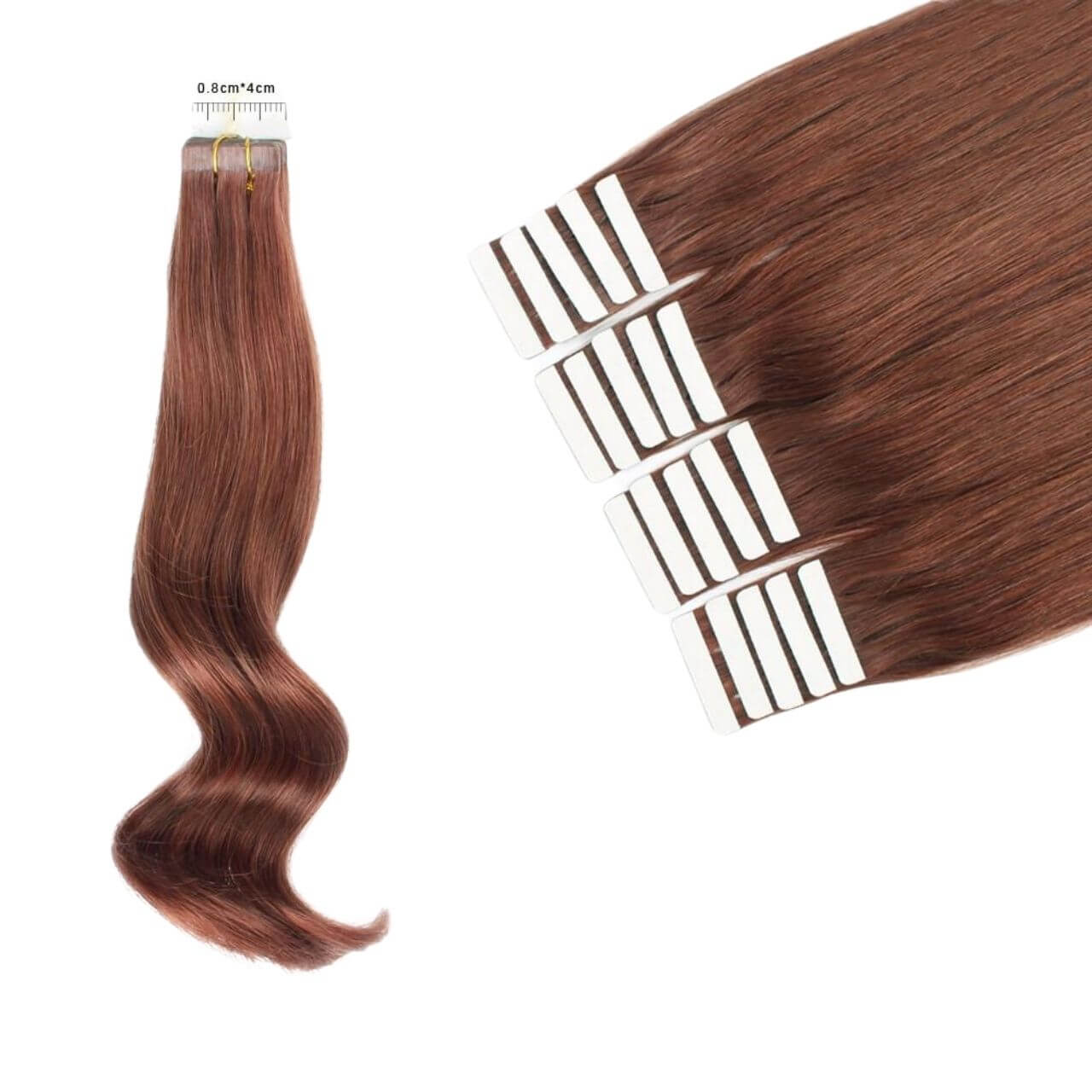 Straight Remy Seamless Tape in Real Hair Extensions With Multiple Lengths #33 Dark Auburn