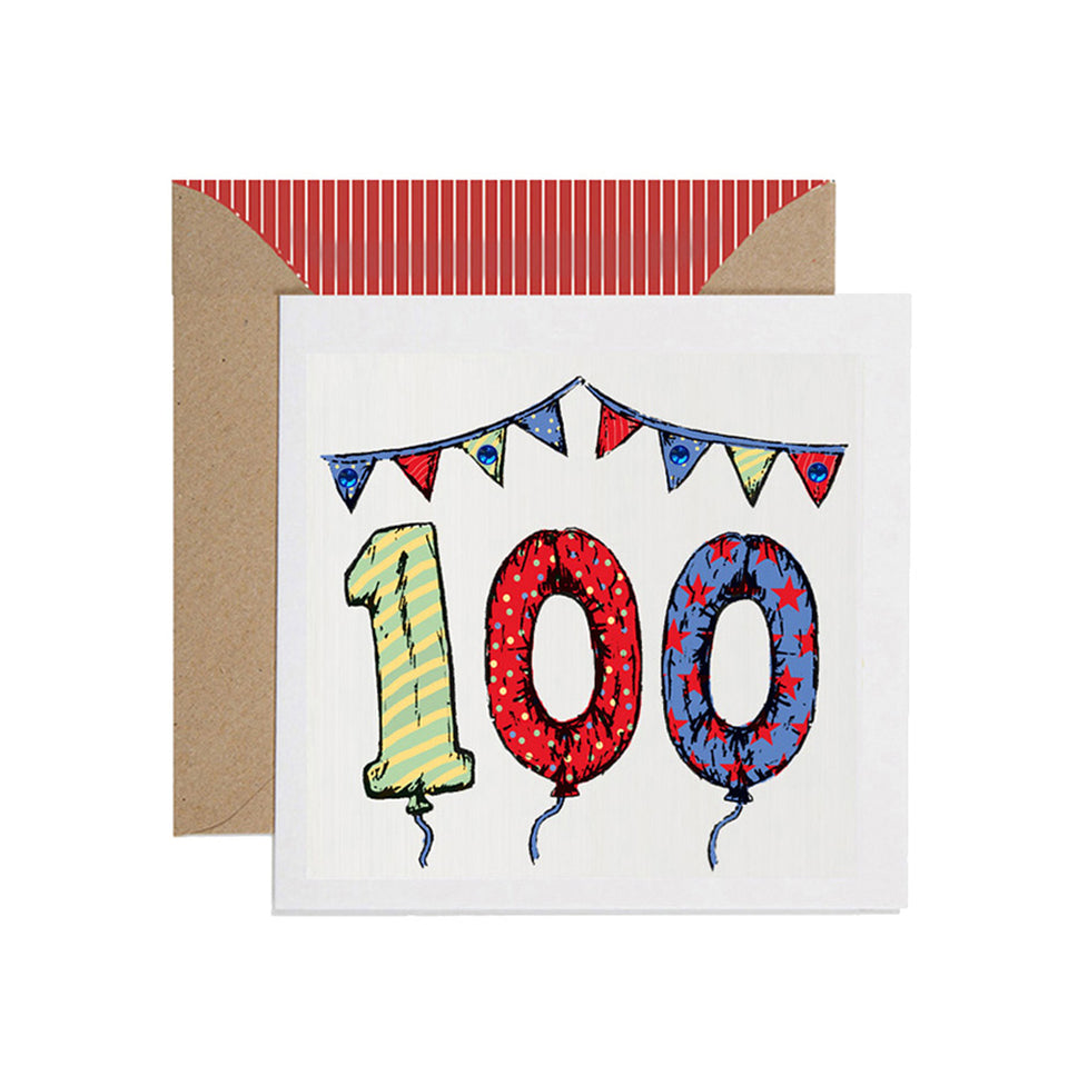 100th Birthday Card Balloons & Bunting - Apple & Clover