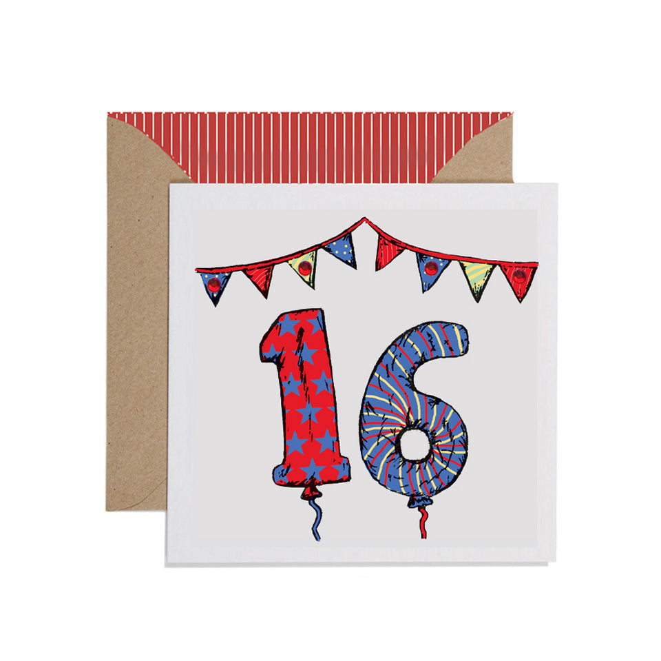 16th Birthday Card Balloons & Bunting - Apple & Clover