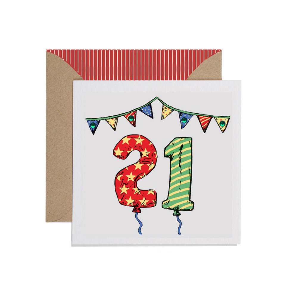 21st Birthday Card Balloons & Bunting - Apple & Clover
