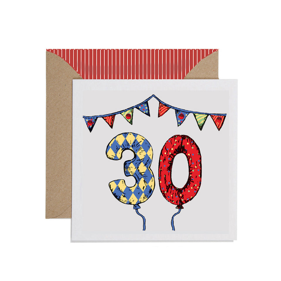 30th Birthday Card Balloons & Bunting - Apple & Clover