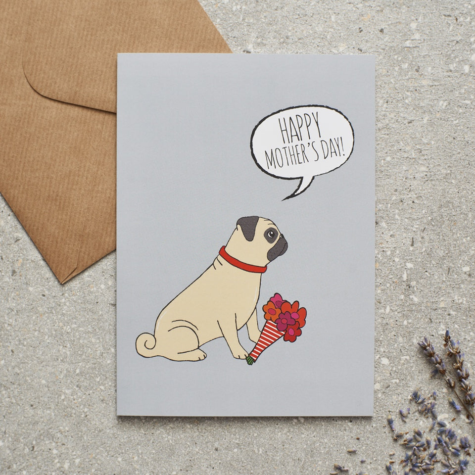 Pug Mother's Day Card - Sweet William