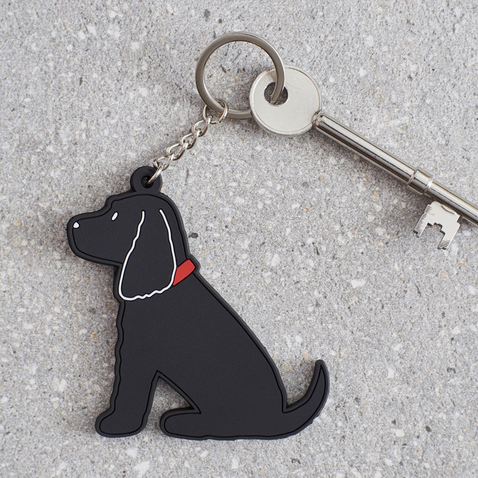 Black Cocker Spaniel Dog Keyring - Sweet William